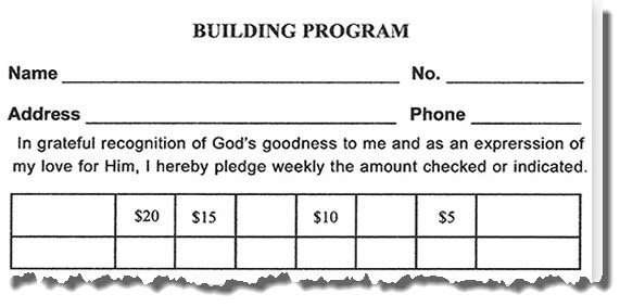 Building Fund pledge card #60100-5
